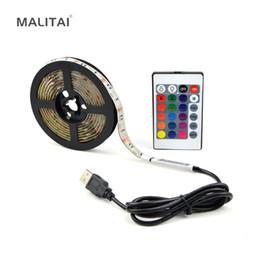Wholesale 3m rgb led strip - 1Pcs PC LCD TV Decoration USB Cable LED Strip light 5050 RGB 0.5M 1M 2M 3M 4M 5M 5V Background lighting String Non Waterproof