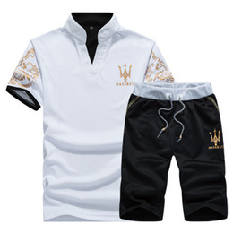 Wholesale Cotton Pullovers - Summer Mens Tracksuit Maserati Printed Men Stall Collar V-Neck Short Sleeves Pullover With Casual Jogger Pants Suits Homme Sportsuit