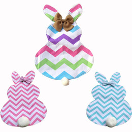 Wholesale Rabbit Shapes - Diy Chevron Easter Bunny Flags Canvas Rabbit Garden Flag with Jute Bow Tie Easter Home Decoration Cute Bunny Shape Garden Flag YYA1172