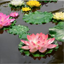 ornamento do jardim de flor de lótus Desconto 10 Pcs Artificial Lótus Lírio de Água Flutuante Flor Tanque Da Lagoa Do Tanque Planta Ornamento 10 cm Casa Jardim Pond Decoração