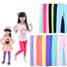 Wholesale leggings candy - girls solid leggings pants new arrive Candy color Toddler classic Leggings big children trousers baby kids cotton leggings