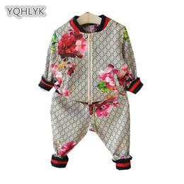 Chaquetas de ropa de las muchachas online-Traje de niños Primavera otoño niño niña traje flor chaqueta + pantalones 2 piezas Conjuntos de ropa para niños Baby Girl Boy conjunto traje K119