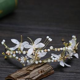 headpiece de noiva vermelho preto Desconto Handmade Pérola Pageant Libélula Crown Headband De Cristal De Noiva Tiara Hairband Para As Mulheres Do Cabelo Do Casamento Jóias Acessórios