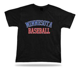 Rotes weißes blaues kleid online-Minnesota BASEBALL T-Shirt T-Stück blau weiß rot MN USA Sommerkleid Feld Design