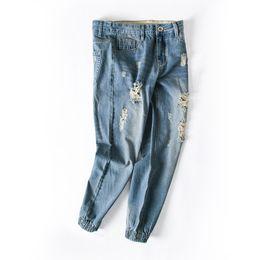 Jeans bleu en Ligne-Plus la taille s-6xl Hommes Bleu Trous Déchiré Déprimé Salopette Beam pied Jeans Baggy Cargo Pants Denim Lâche Droit Jeans Pour Hommes Grand