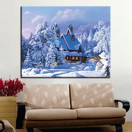 Pintura del bosque casa online-Pintura moderna por número dibujo invierno bosque casa edificio ilustraciones imagen para sala de estar regalos únicos decoración del hogar pared