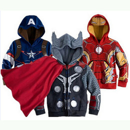 cappuccio supereroe Sconti Neonati Vestiti Bambini Bambini Felpe con cappuccio Giacca Captain America Avengers Hulk Thor Iron Man Supereroi Cosplay Bambini Hoodie Jacket 6 Disegni