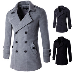 Wholesale black trenchcoat - Men's trench coats England man's double-breasted long pea coat trench slim fit classic trenchcoat Slim manteau homme