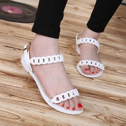Wholesale United Plastic - New Europe and the United States new plastic chain beach shoes candy color jelly sandals chain flat bottomed out sandals