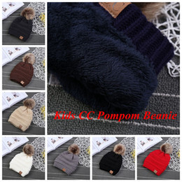 Wholesale Fur Knit Hats - CC Trendy Hats Kids Knitted Fur Poms Beanie Winter Cable Slouchy Skull Caps Leisure Beanie Outdoor Hats 9 Colors 60pcs OOA3899