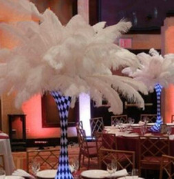 Wholesale Wholesale White Ostrich Feathers - new 18-20 inch(45-50cm) white Ostrich Feather plumes for wedding centerpiece wedding party event decor festive decoration