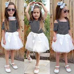Wholesale Dresses America - Girls Off Shoulder Stripe Tutu Dresses Summer 2018 Kids Boutique Clothing Euro America Fashion Girls Short Sleeves Bow Tutu Dresses