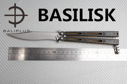 Wholesale Defense System - [ BALIPLUS BLADES ] BALIPLUS BASILISK BALISONG BUTTERFLY KNIFE HOMBR GOLD TI LINER CARBON FIBER SCALE BUSHING SYSTEM