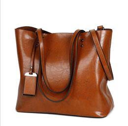 Wholesale Large Leather Tote Bags Wholesale - Fashion Women Handbag PU Oil Wax Leather Women Bag Large Capacity Tote Bag Big Ladies Shoulder Bags LJJK915