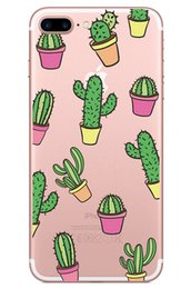 Wholesale Plant Edging - Transparent Soft Tpu Case for Iphone X 7 8 6 plus Samsung Galaxy S7 edge s8 Note Cactus Green Plants Silicone Gel Skin Cute