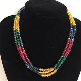 gargantillas de rubí Rebajas Rubíes de lujo Emeralds Sapphires Turquoise Necklace 3strands Collar ajustable Collar de gargantilla de cadena de múltiples capas para el regalo del baile de fin de curso