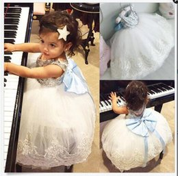 Wholesale Baby Blue Chiffon Dresses - Girls Sequins Bubble Skirt Blue Bow Baby Girls Princess Dresses Lace Summer Dresses Sleeveless Cotton Vest Skirt 1-5T