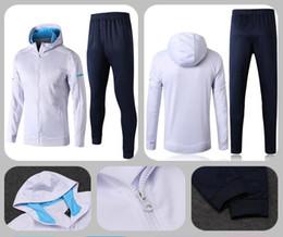 Wholesale Suit Coats - AAA+ Marseille Tracksuit Suit Men Adults OM jacket Tops Coat Pants Sports tight pants 2017 2018 survetement Training suit