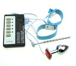 cateter de choque Desconto Plugue do Pênis masculino Uretral Som Castidade Cateter Estimulação Elétrica Anéis Penis Plugue Anal Electro Choque adulto Brinquedos Para Homens