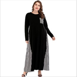 a13a0a213d23e Women Dress 2018 Vintage Black Striped Patchwork Maxi Dress Abaya Muslim  Robe Femme Dresses Middle East Clothing FD58