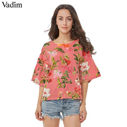 Wholesale Three Quarter Sleeve Floral Blouse - Wholesale- Vadim women sweet floral striped shirts backless bow tie blouses three quarter sleeve ladies summer casual tops blusas DT1176