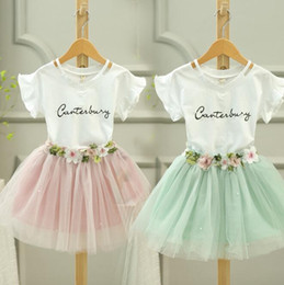 Wholesale Korean Dress Skirt Shirts - Korean Summer 2017 baby girls clothes Dress Suits white letter T shirt Flower tutu skirt 2pcs sets floral children clothing Outfits