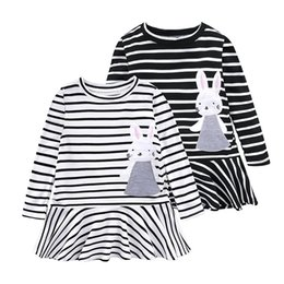 Wholesale White Cotton Embroidered Dresses - INS dresses for girl Lovely Bunny applique 2018 Spring black white striped dress Long sleeve Cotton 1T 2T 3T 4T 5T