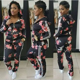 Wholesale Tracksuit Women Flowers - Ladies Flower Floral Print Casual Two-piece Tracksuit Long Sleeved Zipper Hooded Sweatshirt + Sweatpants Woman Sweatsuits Joggers Sport Suit