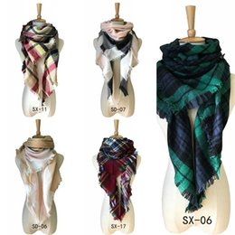 Wholesale Wholesale Luxury Scarves - High Quality Luxury Lady Scarf Multi Color Double Edged Plaid Scarves Women Winter Cashmere Shawl New Fashion 12 87jh Y