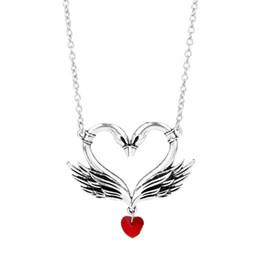 Swan ama colar on-line-Dongsheng Vintage Swan Gargantilha Colar Pingentes de Coração Vermelho de Cristal Beads Colar Do Punk Beijo Amor Colar Boemia Jóias-30