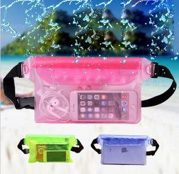 непромокаемые карманные сумки для плавания Скидка Водонепроницаемый талии сумка прозрачный ПВХ мешок стежка подводный путешествия слой герметичный карман на открытом воздухе плавательный пакет талии пояс сумка BBA275 150 шт.