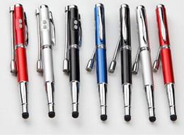 metal ponteiro laser caneta Desconto Frete grátis 5 em 1 promocional Multi-função Metal Ball Pen Com Laser Pointer + LED Light + luz UV + Stylus Touch Pen