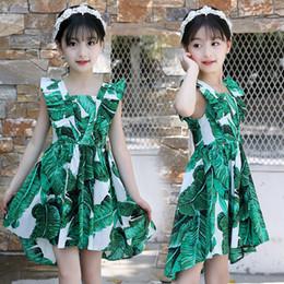 2019 falda de hoja verde Boutique 2018 nuevas niñas vestidos sin mangas verde estampado de flores de algodón hoja de loto falda plisada princesa vestido H122 rebajas falda de hoja verde