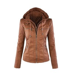 Wholesale Biker Hats - Wholesale- XS-7XL 2017Autumn and winter women's attachable hooded moto biker zipper up faux PU leather jackets PU juniors motorcycle jacket