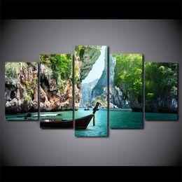 2019 hd boot malerei HD Gedruckt 5 Stück Leinwand Kunst Natur Canyon Landschaftsmalerei Wandbilder für Wohnzimmer Boot Poster Kostenloser Versand CU-2534B günstig hd boot malerei
