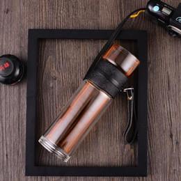filtros de cristal Rebajas Cristal creativo cristal doble frasco de vacío 320 ml taza de té con acero inoxidable filtro de té deportes de invierno botella de agua QW8586