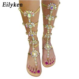 Wholesale Knee High Buckle Boots - Eilyken Summer Flats Sandal Gladiator Gold Rhinestone Knee High Buckle Strap Woman Boots Bohemia Style Crystal Beach Shoes