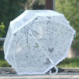 Wholesale Bride Umbrellas - 23inch Arched Princess Umbrella Transparent Mushroom Bumbershoot Lace Floral Border Bride Umbrellas Crystal Long Handle White