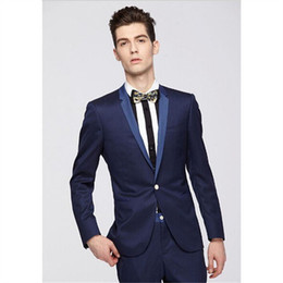 военно-морской костюм итальянский Скидка New Fashion Italian Navy Blue Suits Tuxedos Masculino 2Pieces(Jacket+Pants+Tie) Work Daily Wear Custom Made Man Wedding Blazer