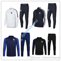 Wholesale set jacket - New 2018 Frances Soccer Jacket Set GRIEZMANN Soccer Training Set High Quality 17 18 France POGBA TrackSuit Set Maillot Shirts uniform