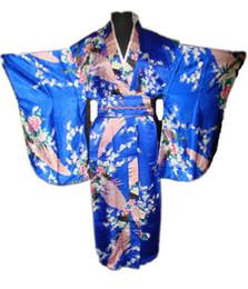 Argentina Vestido de Yukata vestido de baño de raso Kimono de las mujeres japonesas de la vendimia azul con ropa Obi Peafowl un tamaño WK004 supplier blue japanese kimono Suministro