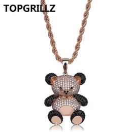 2019 colliers de panda TOPGRILLZ Hip Hop Cuivre Rose Or Argent Couleur Cubique Zircon Panda Pendentif Collier Charme Pour Hommes Femmes Bijoux Colliers Cadeaux colliers de panda pas cher