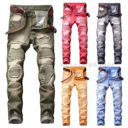 mens cotton trouser design Coupons - New Fashion Large Size 29-42 Mens Colorful Jeans Multicolor Motorcycle Tide Pants Ripped Slim Fit Casual Long Trousers Biker Novelty Design