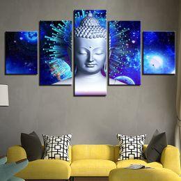 buddha frames Rabatt New Blue Buddha Leinwand Malerei 5 Panel Kein Rahmen Buddhismus Poster Buddha Statue Bild Für Tempel Wohnkultur Wandkunst Gruppe Malerei