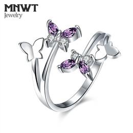 dual-chip-handys Rabatt MNWT 2018 Neue Schmetterling Ringe Verstellbaren Ring Dame Mode Silber Farbe Überzogener Kristall Mode Party oder Engagement Schmuck Geschenk