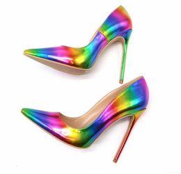 Носок обуви пик онлайн-Бесплатная доставка мода новая женщина женщины леди 2019 реальный рис красочный радуга печатных острым носом женский 12 см 10,5 см 8 см туфли на каблуках туфли на высоком каблуке