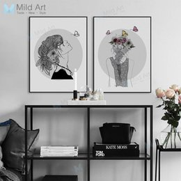 Wholesale Flower Watercolor Paintings - Black and White Girl Flower Butterfly Posters Prints Beautiful Big Wall Picture Nordic Style Home Decor Canvas Painting No Frame