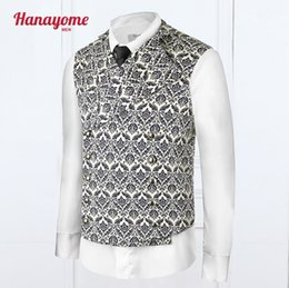 Wholesale Leather Vests For Men - 2017 Fashionable Coat For Male New Design Waistcoats Flower Printing V-Neck One Piece Vests Leather Trench Coat Mens VS31