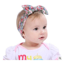 Wholesale Metallic Wrap - Lovely Girls Floral Rabbit Ears Headband Cute Girl Flower Cotton Hairband Kids BowKnot Head Wrap Hair Accessories DHL Free Shipping
