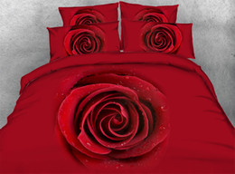 2019 colcha reina rosa roja JF-002 Luxury Red rose Imprimir colcha de matrimonio Queen edredón conjunto 3D ropa de cama colcha reina rosa roja baratos